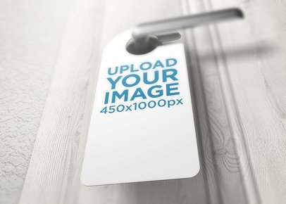 Low-Angle View Mockup of a Door Hanger Placed on a Handle 1730-el