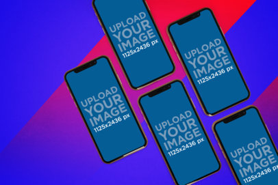 Mockup of Five iPhones 11 Pro on a Colorful Background 1529-el