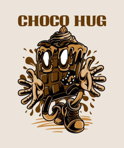 Street Art Inspired T-Shirt Design Maker with a Chocolate Cartoon 37d-el