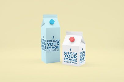 Food Packaging Mockup Featuring Two Milk Cartons Placed Against a Solid Color Background 1573-el
