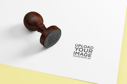Mockup of a Round Rubber Stamp 1706-el