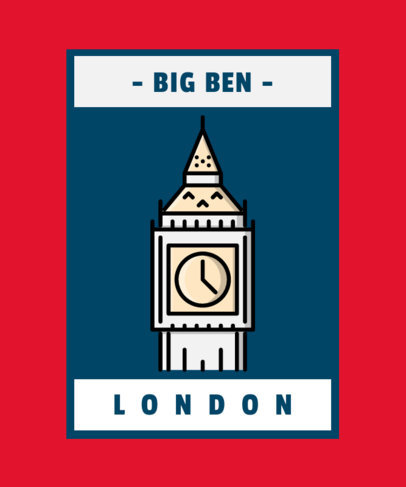 Monument T-Shirt Design Template with London's Famous Clock