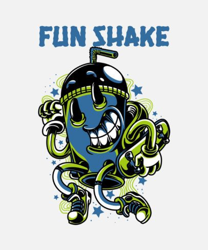 T-Shirt Design Template in a Street Art Style Featuring a Milkshake 37i-el