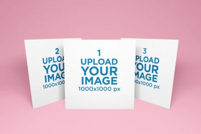 Mockup of Three Square Flyers Standing in a Minimalist Scenario 1745-el