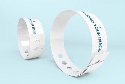 Mockup of Two Vinyl Wristbands in a Minimalistic Scenario 1426-el