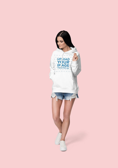 Pullover Hoodie Mockup Featuring a Long-Haired Woman at a Studio 1795-el