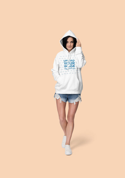 Mockup of a Woman at a Studio Wearing a Pullover Hoodie 1796-el