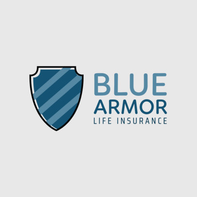 Insurance Logo Maker with a Big Blue Shield Icon 259c-el