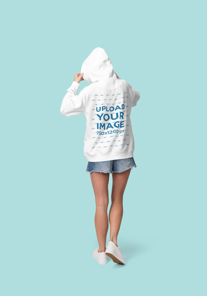 Back View Mockup of a Woman Wearing a Hoodie at a Studio 1797-el