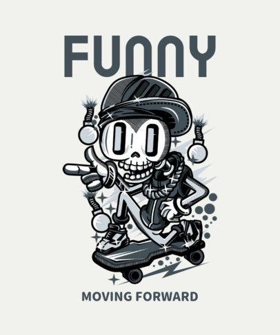 Funny T-Shirt Design Maker with a Skater Skeleton 43i-el