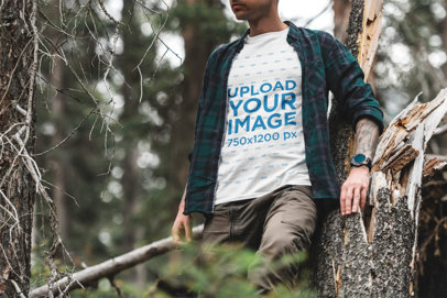 T-Shirt Mockup Featuring an Intrepid Man in the Woods 1856-el