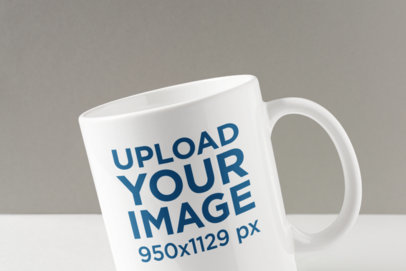 Closeup Mockup Featuring an 11 oz Customizable Coffee Mug 1674-el