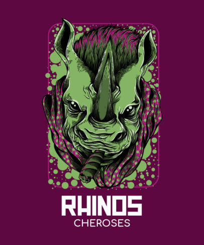 T-Shirt Design Maker Featuring Bizarre Rhino Illustrations with Street-Art Style 44-el