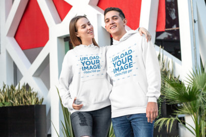 Mockup Featuring a Couple with Matching Hoodies 30758