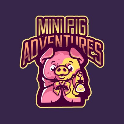 Gaming Logo Maker Featuring an Adventurous Mini Pig 2766g