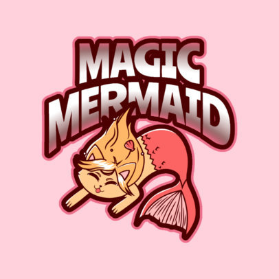 Logo Maker with a Magical Mermaid Cat Mascot 2766h