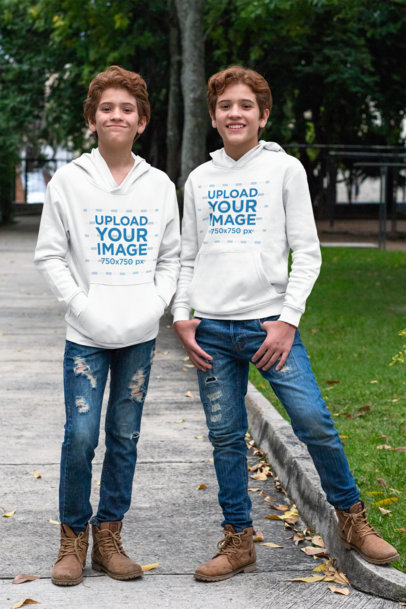 Pullover Hoodie Mockup of Identical Twins Wearing Matching Outfits 30698