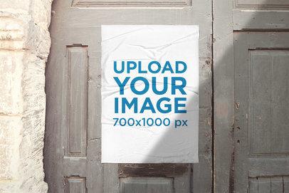 Urban Poster Mockup Featuring an Old Door 1763-el