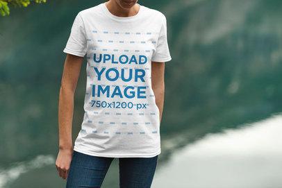Mockup of a Woman Wearing a T-Shirt by a Lake 1855-el