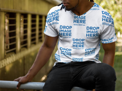 Mockup of a Young Black Man With Dreadlocks Wearing a V-Neck T Shirt a8749