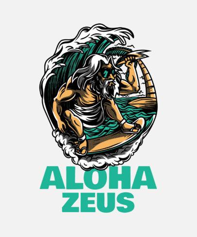 Street Art-Style T-Shirt Design Creator Featuring the Surfing God 21c-el