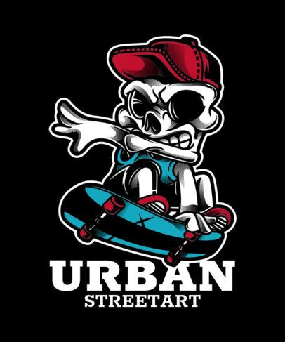 Urban-Style T-Shirt Design Template for Skaters 21h-el