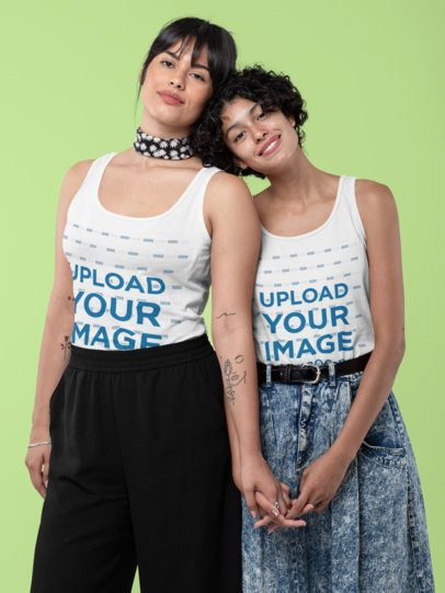 Tank Top Mockup of Two Girlfriends Holding Hands at a Studio 30395