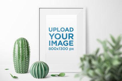 Picture Frame Mockup Featuring Some Porcelain Cactus 1934-el