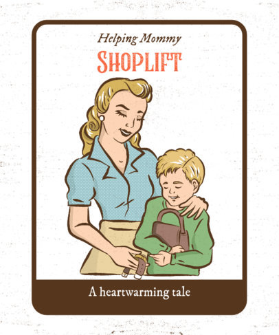 Dark Humor T-Shirt Design Maker Featuring a Mom and a Boy Shoplifting 2048a