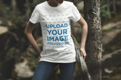 Mockup of a Woman Wearing a Crew Neck T-Shirt in the Forest 1840-el1