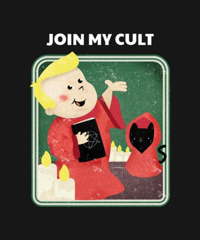 Dark Humor T-Shirt Design Creator Featuring a Satanic Boy 2049j