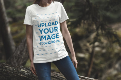 T-Shirt Mockup Featuring a Woman in the Woods 1841-el