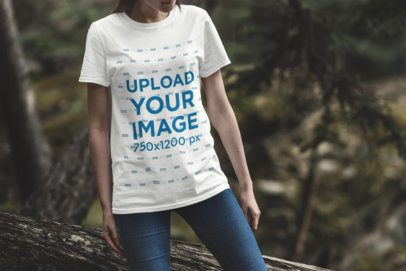 T-Shirt Mockup Featuring a Woman in the Woods 1841-el1