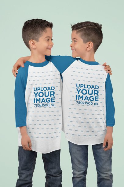 Three Quarter Sleeve Raglan T-Shirt Mockup Featuring Two Twin Brothers at a Studio 30990