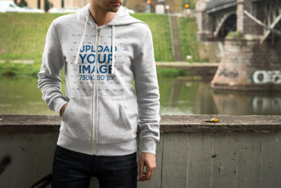 Full-Zip Hoodie Mockup of a Man Standing by an Urban River 1783-el