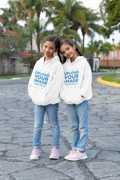 Mockup of Twin Girls Wearing Pullover Hoodies 30711
