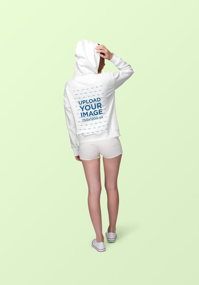 Back-View Mockup of a Woman Wearing a Pullover Hoodie Against a Solid Background 1883-el