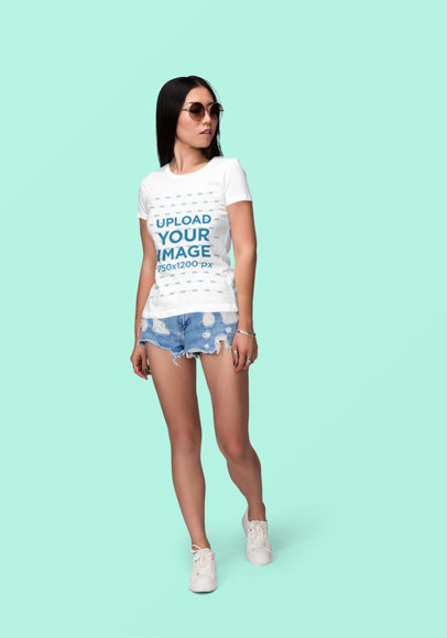 T-Shirt Mockup of a Young Woman with Sunglasses Posing Against a Colored Backdrop 1863-el