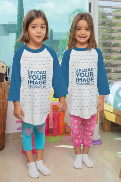 Raglan Tee Mockup Featuring Twin Girls Holding Hands 31011