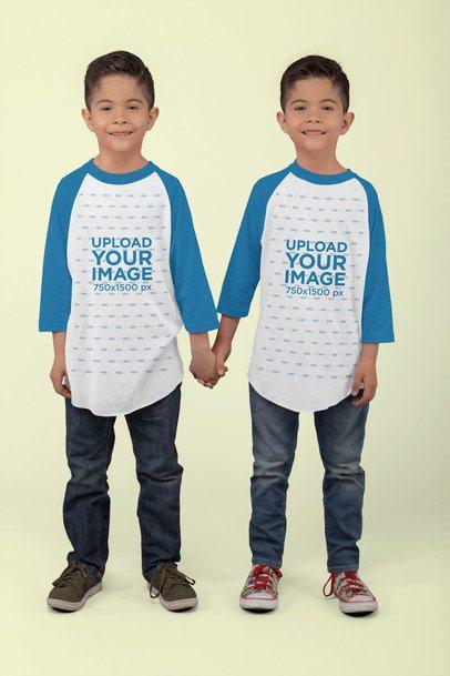 Raglan T-Shirt Mockup Featuring Twin Boys Holding Hands at a Studio 30992