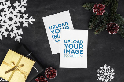 Mockup of Two Postcards Set in a Christmas Scenery 2075-el