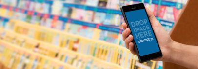 Android Mockup of a Man Using Sony Xperia While Shopping a11172