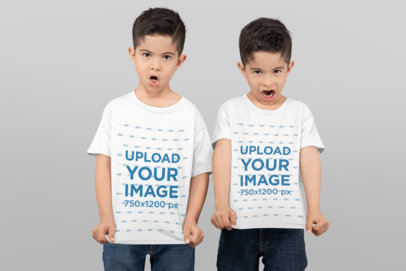 T-Shirt Mockup of Twin Boys Making Funny Faces