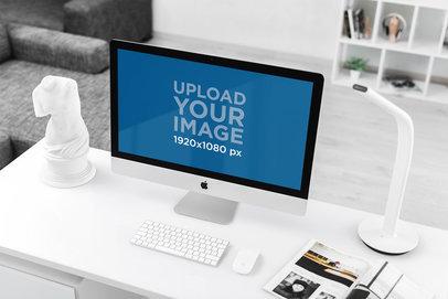 Mockup of an iMac at a Modern Office 2140-el
