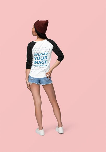 Back View Mockup of a Woman Wearing a Customizable Raglan Long Sleeve Tee 1869-el1