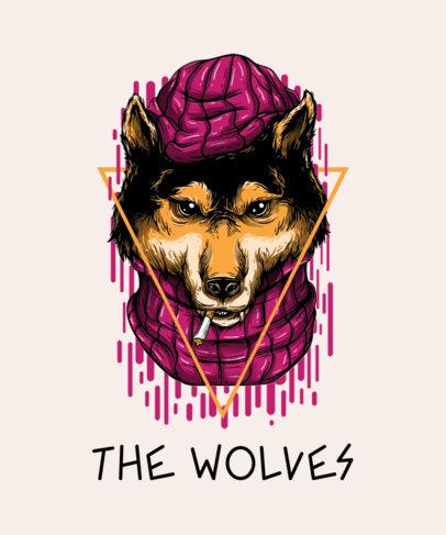 T-Shirt Design Maker Featuring a Smoking Wolf Cartoon with Urban Design 44h-el