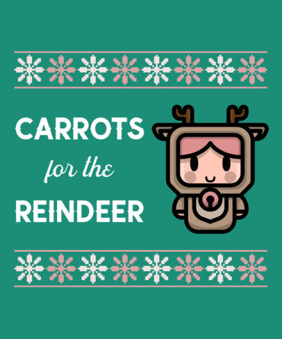 Cute T-Shirt Design Template for an Ugly Christmas Sweater Featuring a Reindeer 317c-el