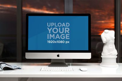 iMac Mockup Featuring a White Office Desk and a Sculpture 2143-el