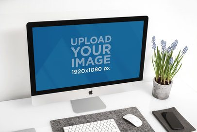 Mockup Featuring an iMac Against a White Wall 2144-el