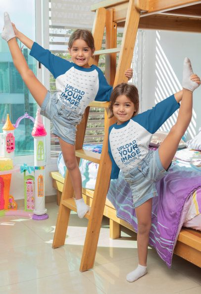 Raglan Tee Mockup Featuring Twin Girls Doing a Standing Split 31015